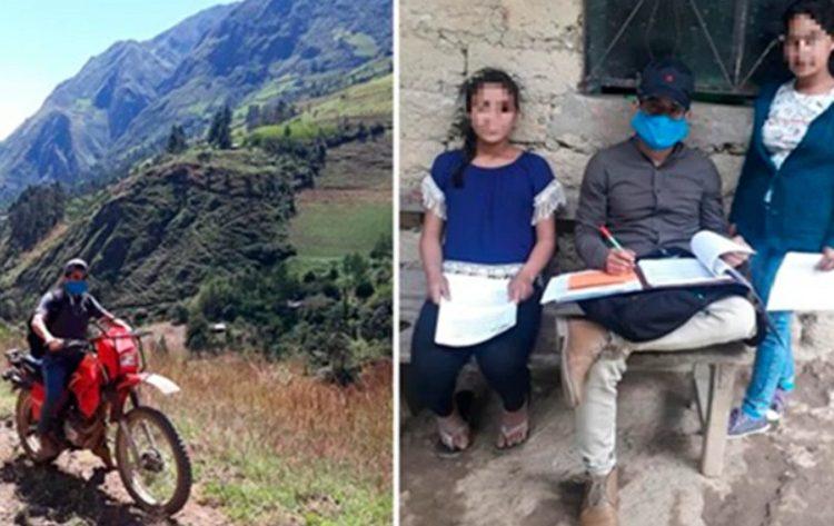 Profesor de Piura reparte casa por casa las tareas de sus alumnos que viven en zona alejadas