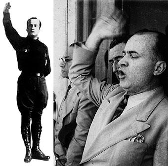 Fotografía de estudio de Luis A. Flores en traje fascista. Derecha, en traje de posguerra dur
