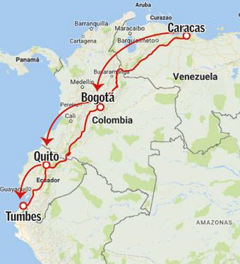 La ruta de Caracas a Tumbes es de 3,138 Km